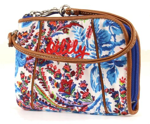 Oilily Wrist Wallet Purse Geldbeutel Dutch Flower Blue
