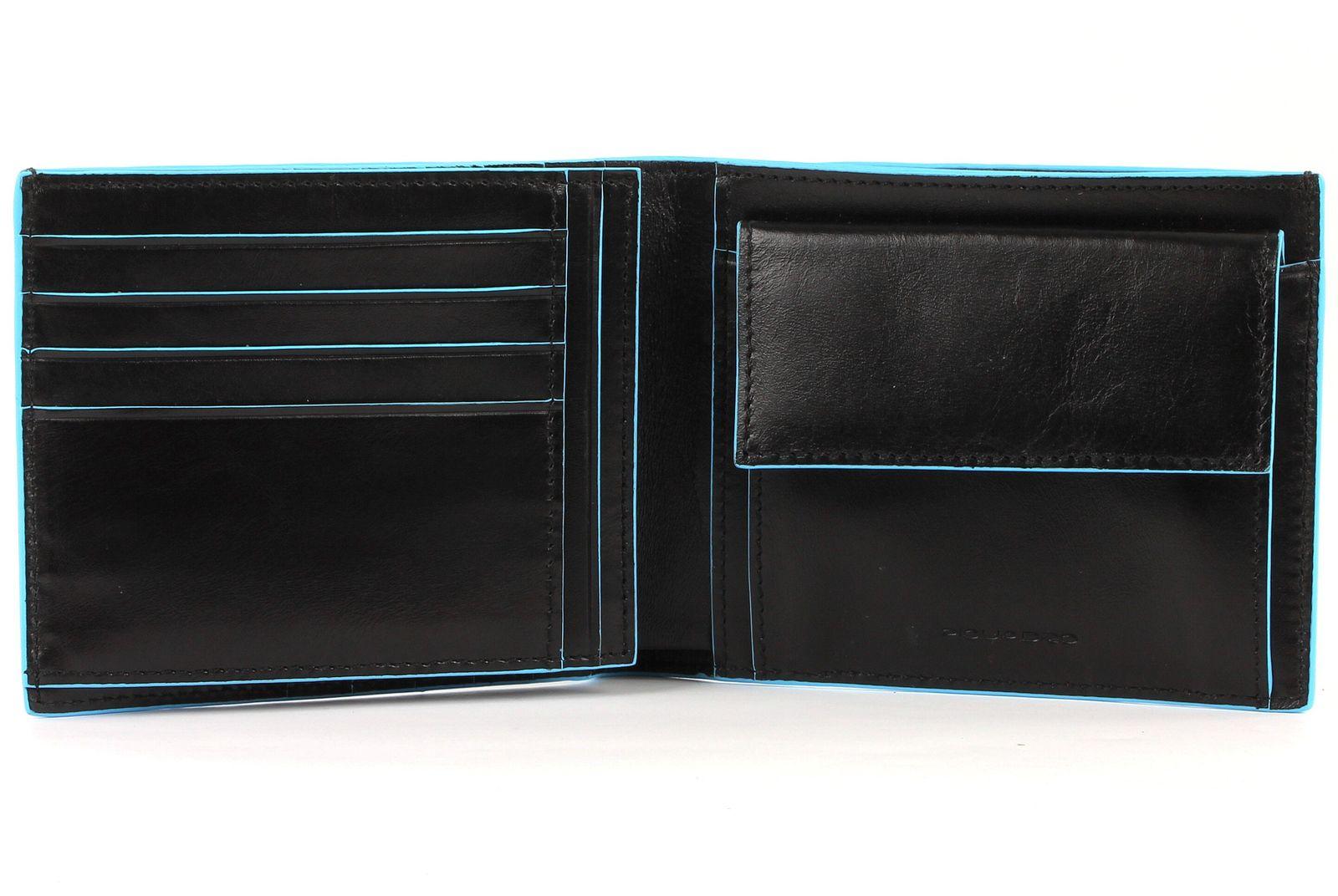 PIQUADRO Blue Square Wallet Horizontal Nero