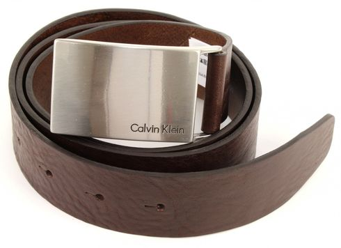 Calvin Klein Mino Plaque Belt W110 Dark Brown