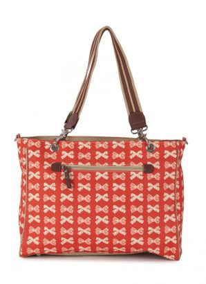 Pink Lining Bramley Tote Cream Bows On Red