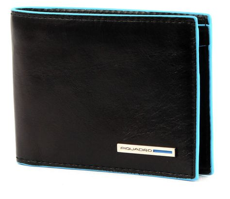 PIQUADRO Blue Square Small Wallet Horizontal Nero