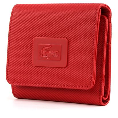 LACOSTE Women's Classic Medium Trifold Wallet Flame Scarlet