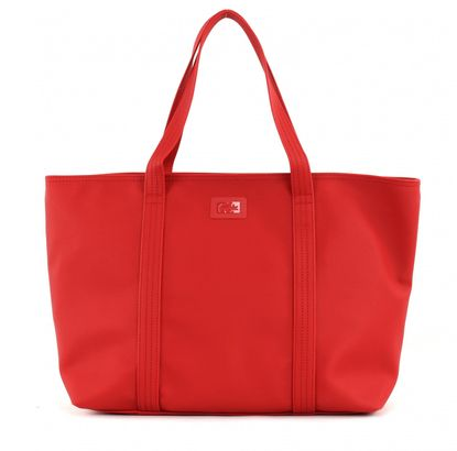 LACOSTE Women's Classic Large Shopping Bag Flame Scarlet