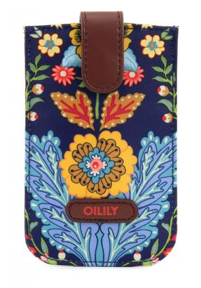 Oilily Travel Paisley Smartphone Pull Case Navy