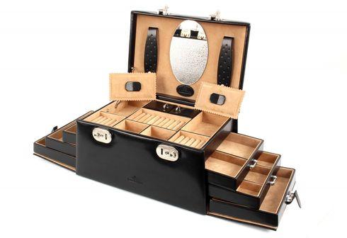 WINDROSE Merino Schmuckkoffer 6 seitliche Schubladen Schwarz