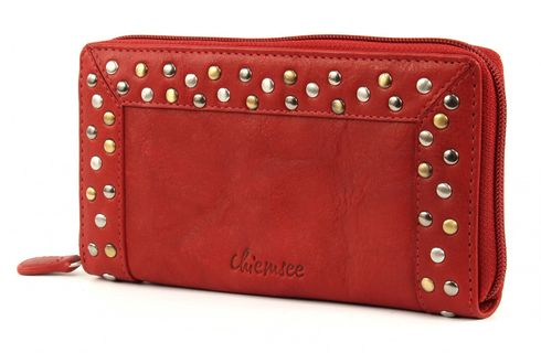 CHIEMSEE Rivet Leather Wallet Bright Red
