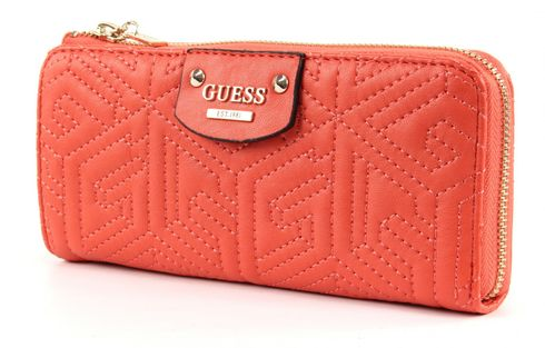 GUESS G Cube Quilt Slim Zip Wallet Coral
