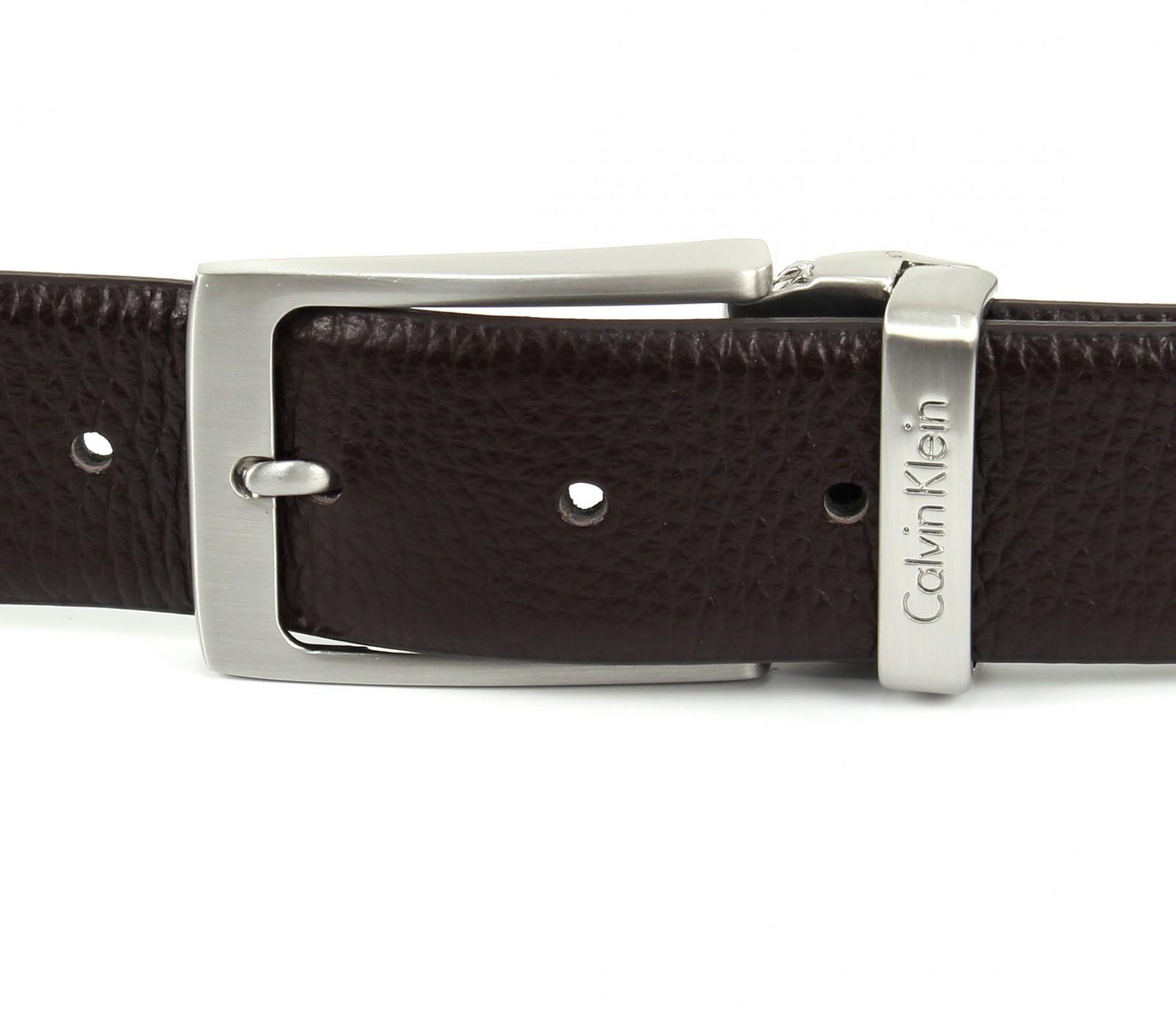 Calvin Klein Stand Alone Adjustable Pebble Belt W80 Dark Brown