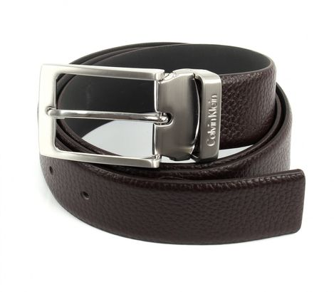 Calvin Klein Stand Alone Adjustable Pebble Belt W85 Dark Brown