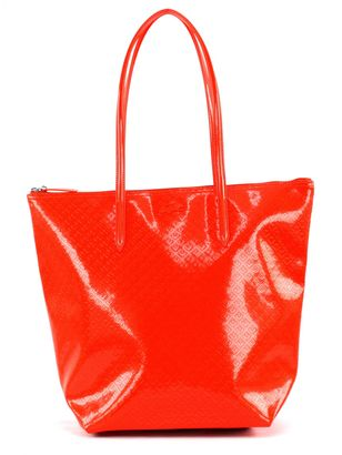LACOSTE L.12.12 Concept Glossy Vertical Tote Bag Spicy Orange