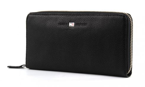 TOMMY HILFIGER Basic Leather Large Zip Around Wallet Black