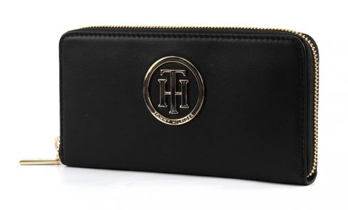 TOMMY HILFIGER Classic TH Large Zip Around Wallet Black