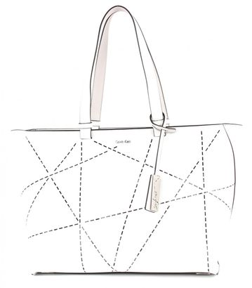 Calvin Klein Sofie Perforated Large Tote Artic White / Vapor Grey