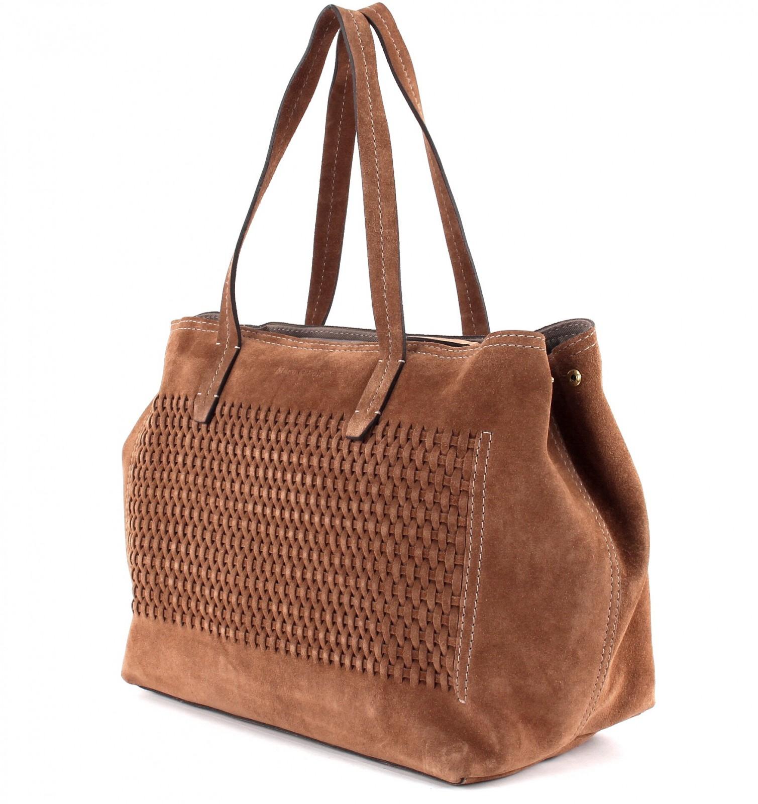 marc o polo woven suede cotton canvas shopper m tasche handtasche cognac braun ebay. Black Bedroom Furniture Sets. Home Design Ideas