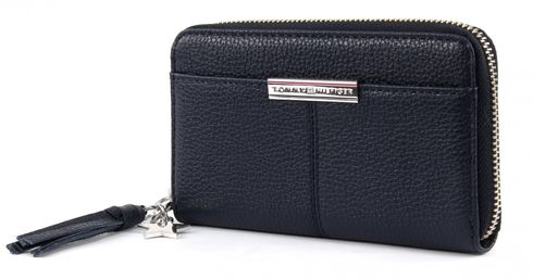 TOMMY HILFIGER City Leather Slim Medium Zip Around Wallet Midnight