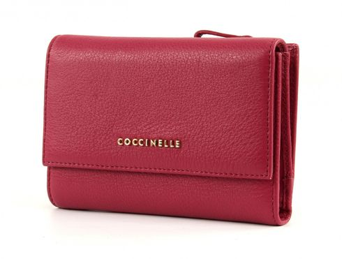 COCCINELLE Pelle Vitello Flap Wallet Black Cherry