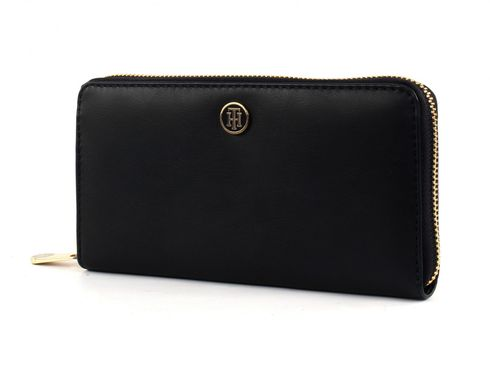 TOMMY HILFIGER TH Smooth Large Zip Around Wallet Black