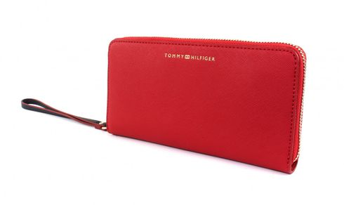 TOMMY HILFIGER TH Twist Large Zip Around Wallet Saffiano Scooter Red