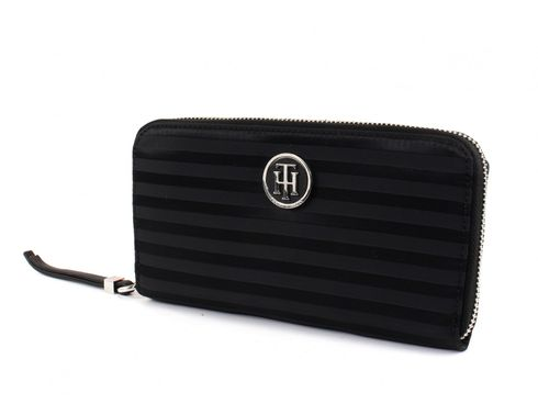 TOMMY HILFIGER Jacquard Nylon Large Zip Around Wallet Black
