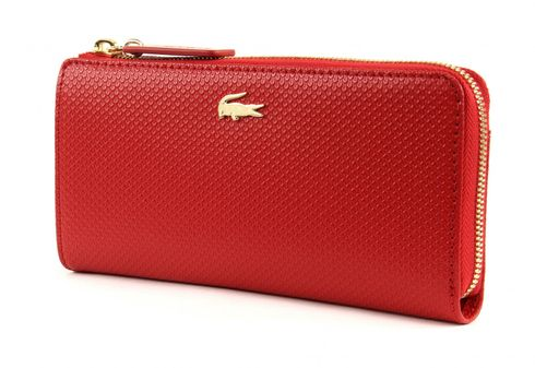 LACOSTE Chantaco Slim Zip Wallet Pompeian Red