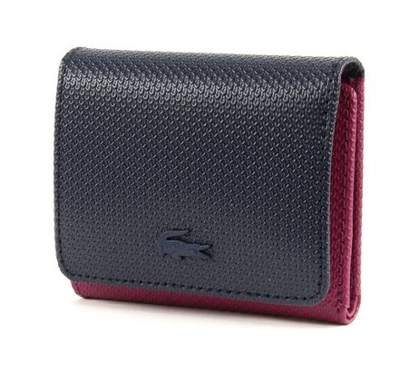LACOSTE Chantaco Animation 2 Medium Trifold Wallet Peacoat Boysenberry