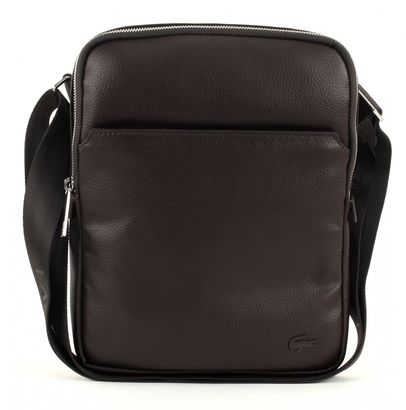 LACOSTE Gael Large Flat Crossover Bag Chocolate Brown