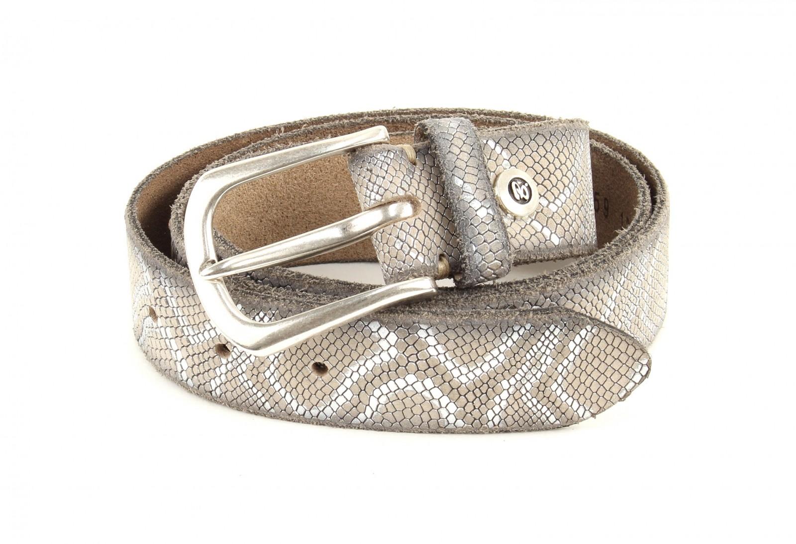 b.belt Ledergürtel Animal W100 Vanille+Silbermetallic