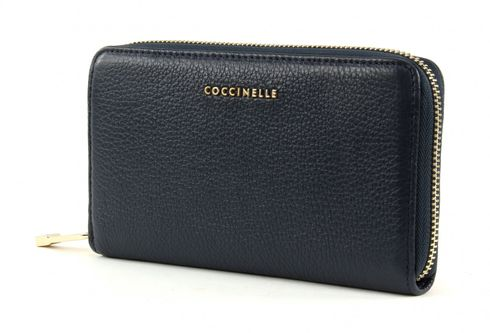 COCCINELLE Metallic Soft Zip Around Wallet Blu