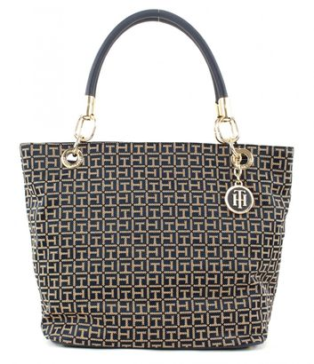 TOMMY HILFIGER TH Essential TH Signature Tote Jacquard Midnight / Oatmeal