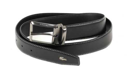 LACOSTE Curved Belt Stitched Edges W110 Black