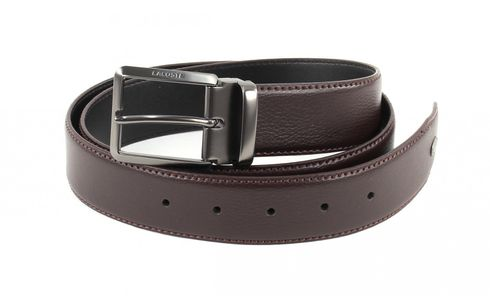 LACOSTE Curved Belt Stitched Edges W110 Brown