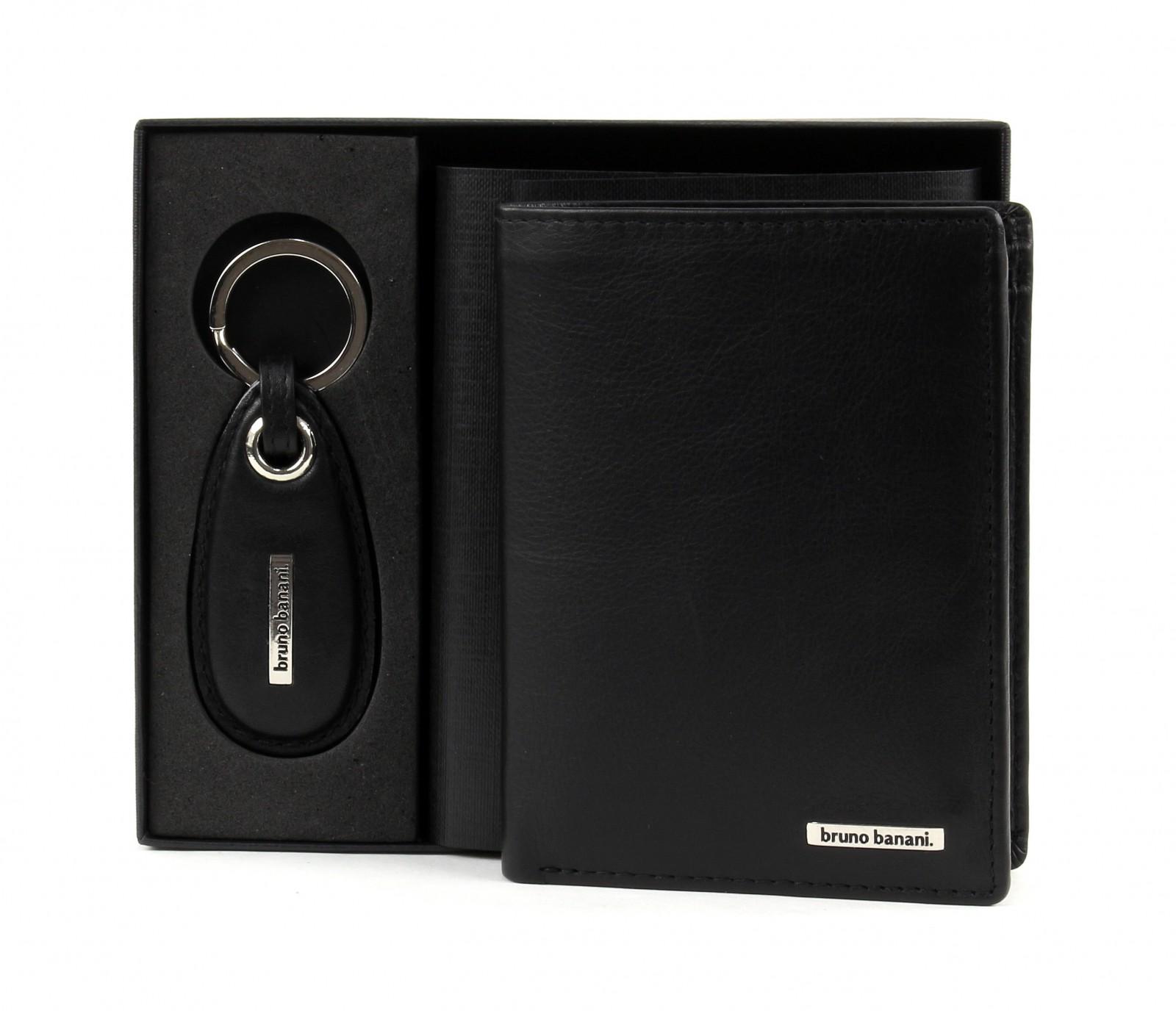 bruno banani Gift Box Set Slim Wallet High / Keychain Black