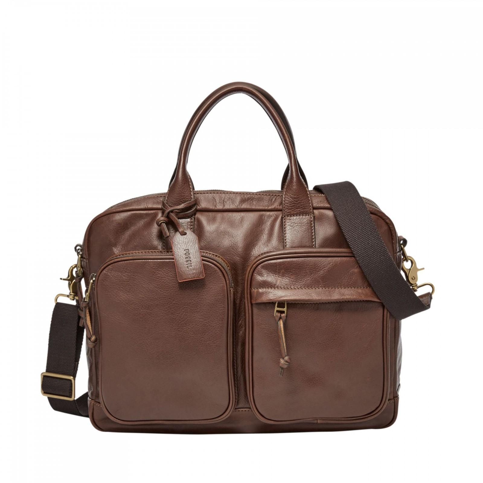 FOSSIL Briefcase Defender Double Zip Workbag Brown