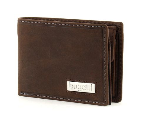 bugatti Hunter Coin Wallet with Flap 4CC Metal Logo Brown