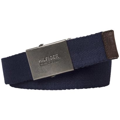 TOMMY HILFIGER THD SLD Plaque Webbing Belt 4 W95 Tommy Navy