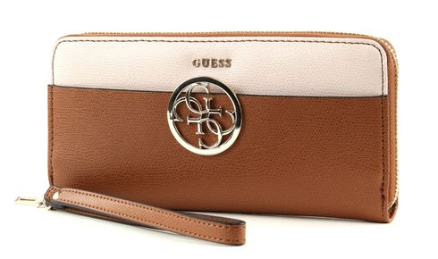 GUESS Devyn SLG Large Zip Around Cognac Multi