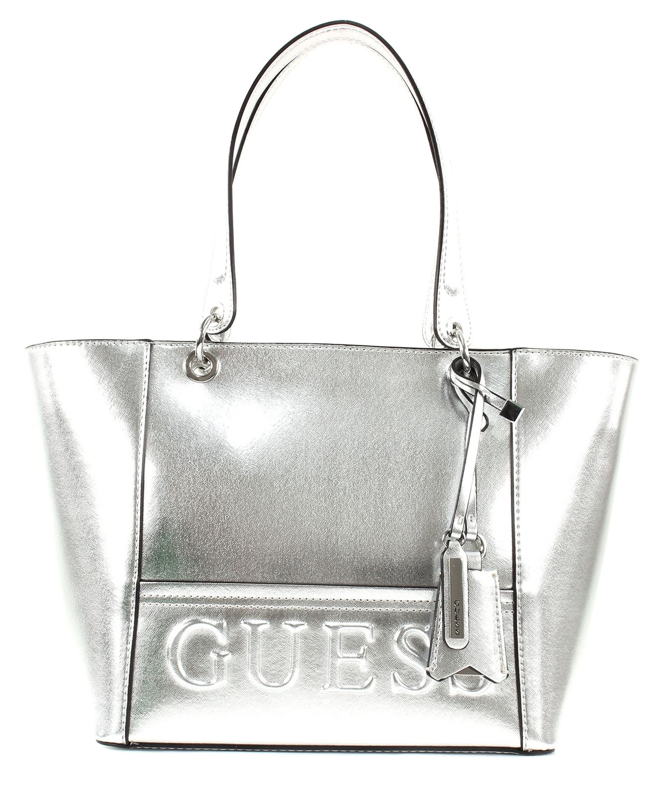 guess kamryn tote shopper schultertasche tasche silver. Black Bedroom Furniture Sets. Home Design Ideas