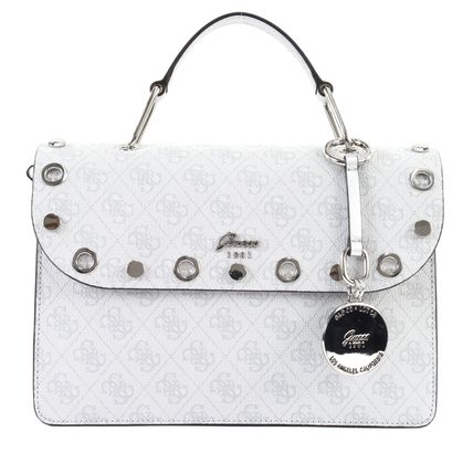 GUESS Jacqui Top Handle Flap Ice Weiß / Silber
