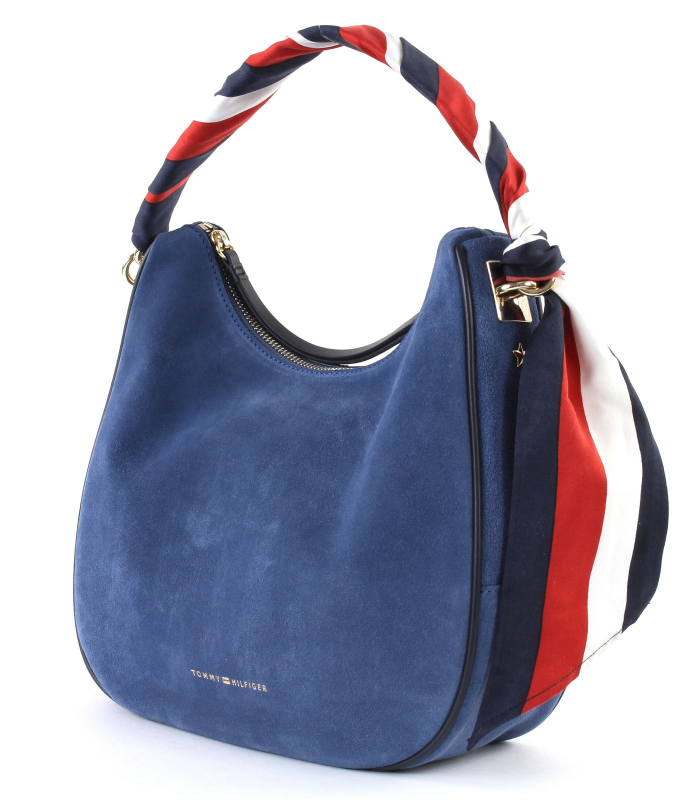 TOMMY HILFIGER Iconic Foulard Leather Small Hobo Suede Dutch Blue