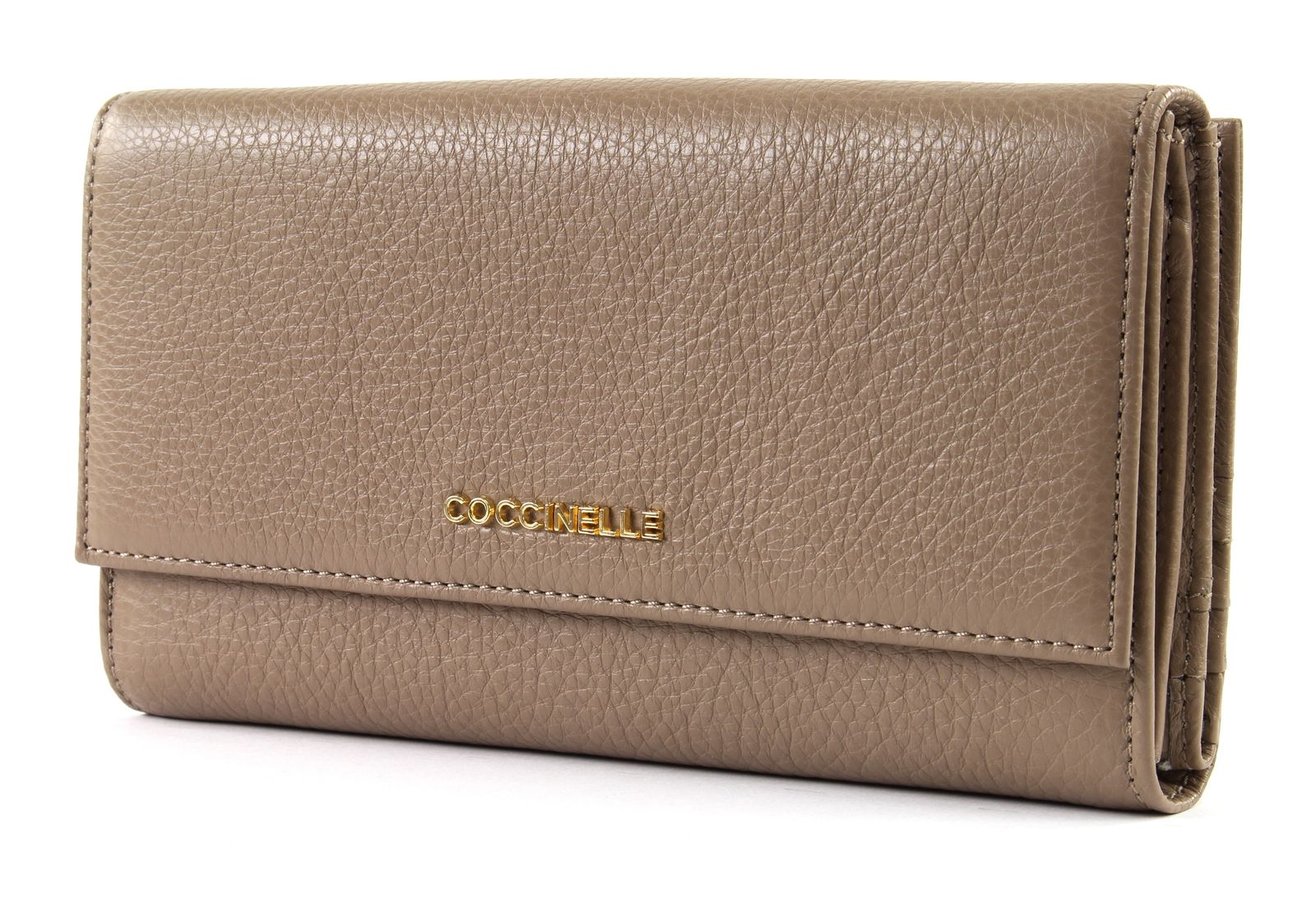 efcd3126fb7f8 COCCINELLE Metallic Soft Flap Wallet Taupe