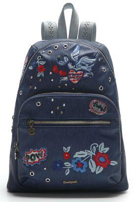Desigual Denim Flowers Lima Shoulder Bag Navy