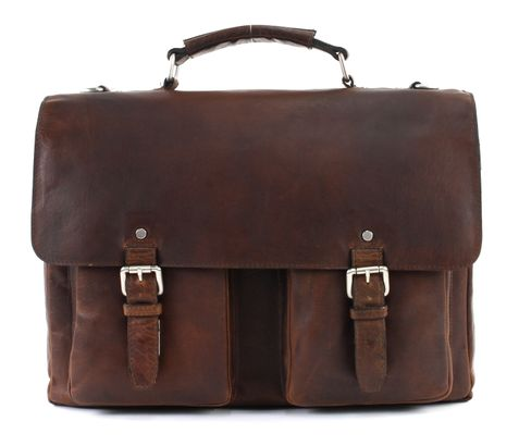 LEONHARD HEYDEN Glasgow Briefcase 2 Compartments Cognac