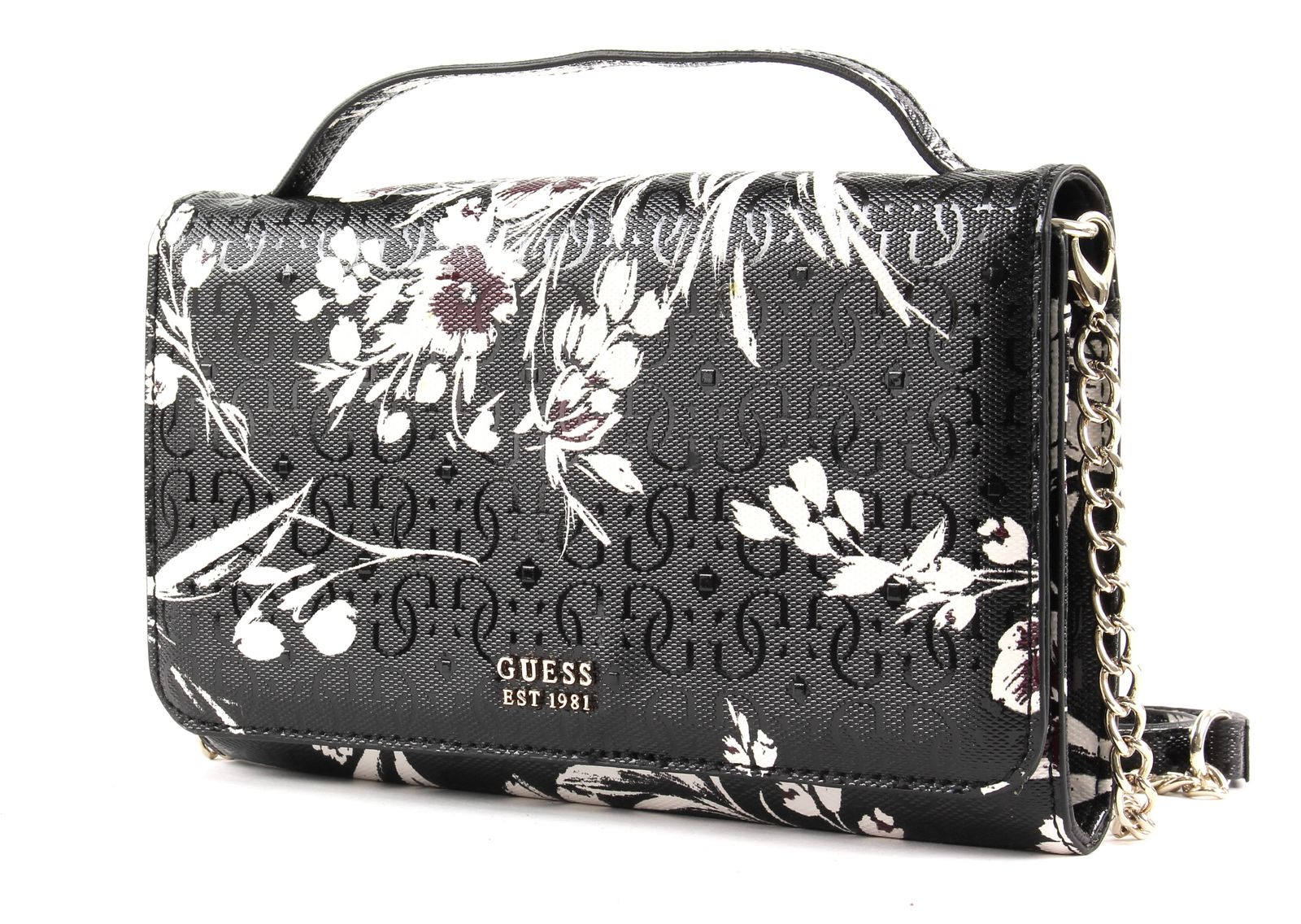 Details about GUESS Tamra Wallet On A String Black Floral