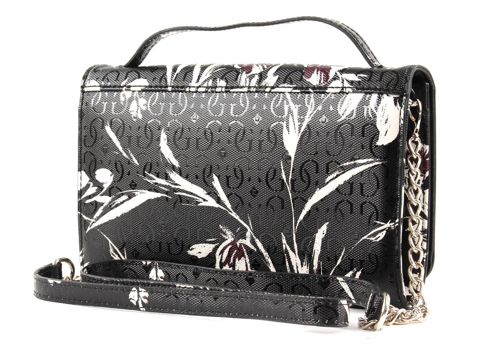 Details zu GUESS Tamra Wallet On A String Abendtasche Tasche Black Floral Schwarz Weiß Neu