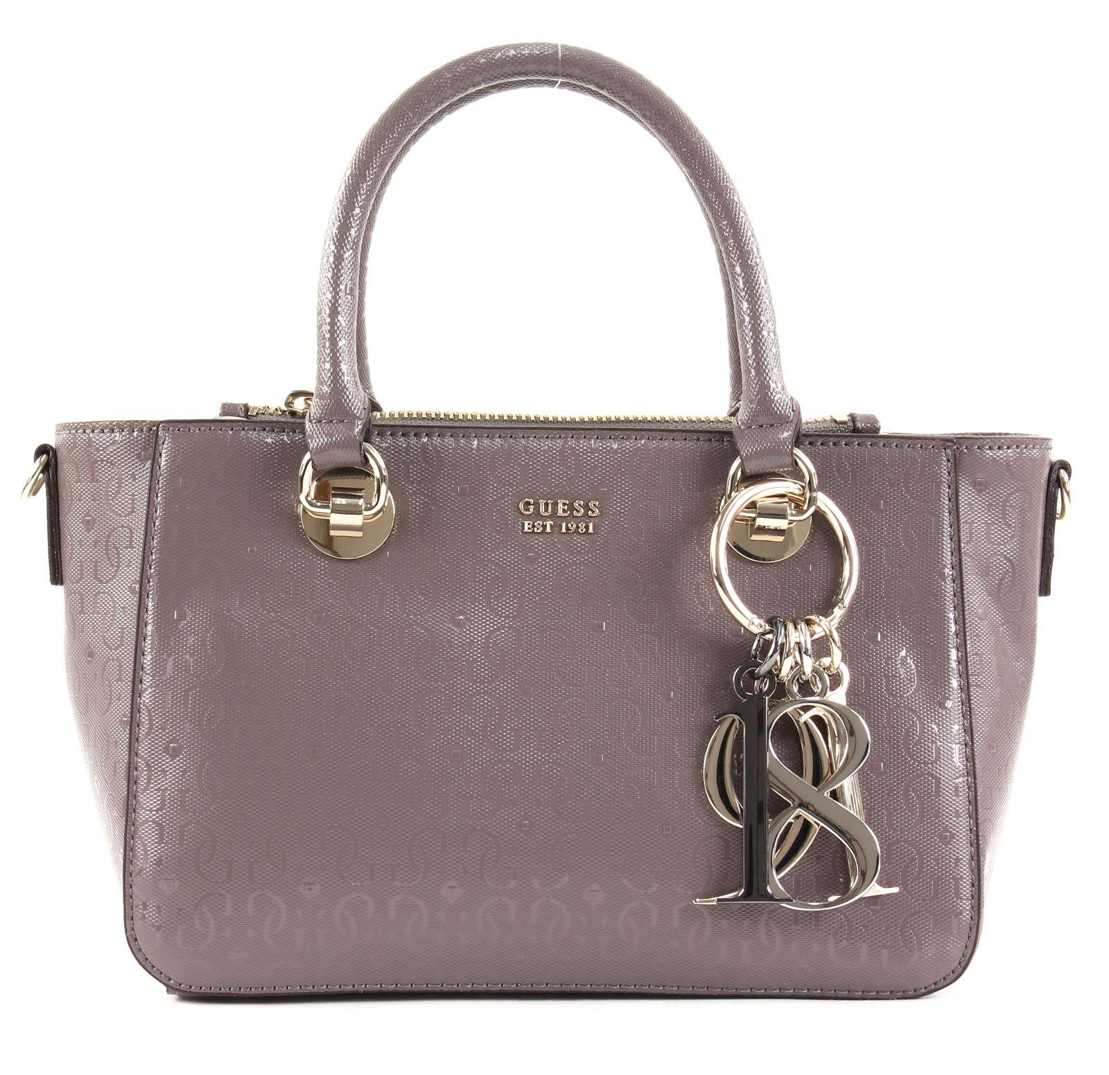 Details zu GUESS Tamra Small Society Satchel Handtasche Tasche Taupe Braun Neu