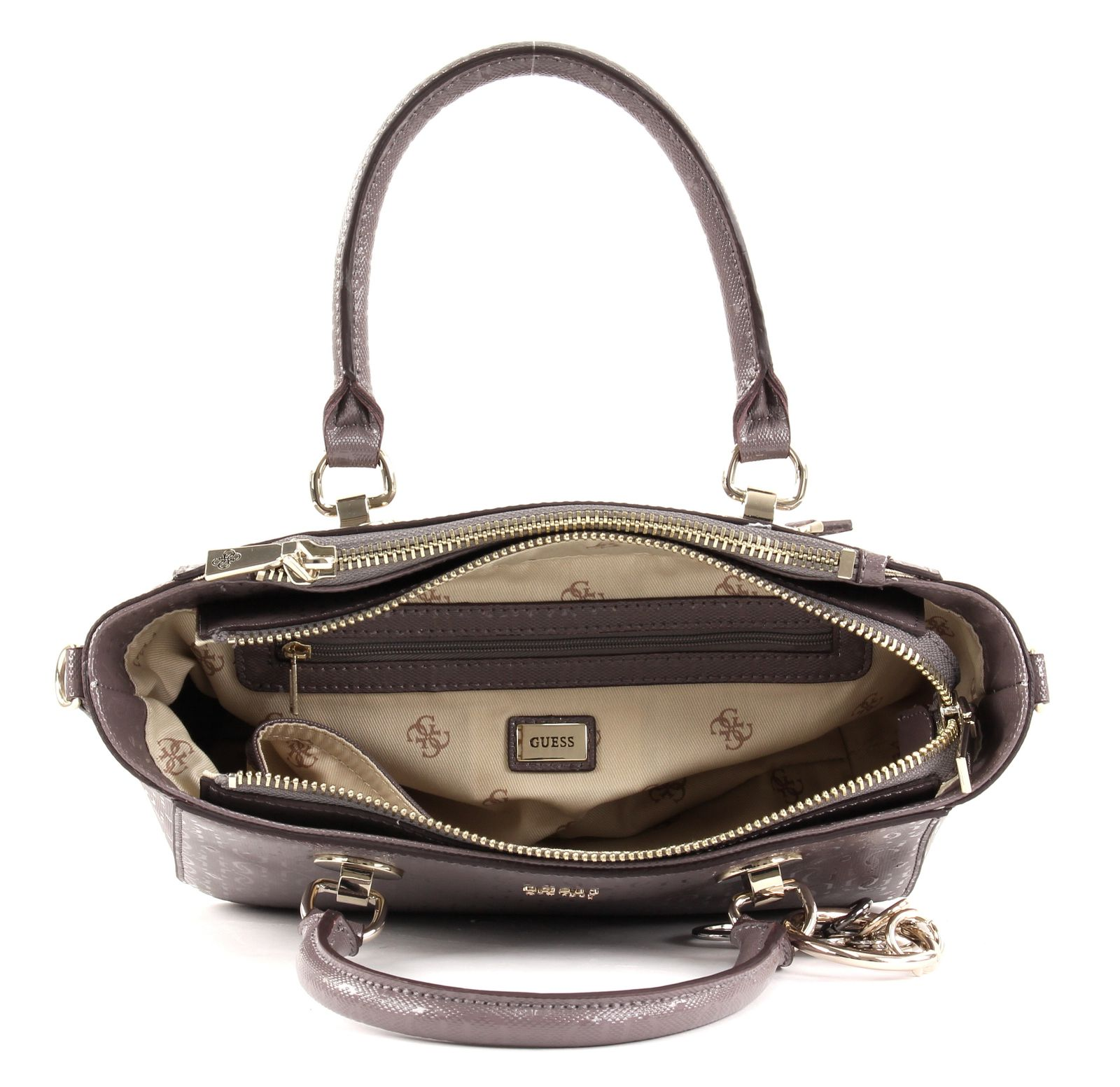 3ae88e0aeb9ce GUESS Tamra Small Society Satchel Handtasche Tasche Taupe Braun Neu ...