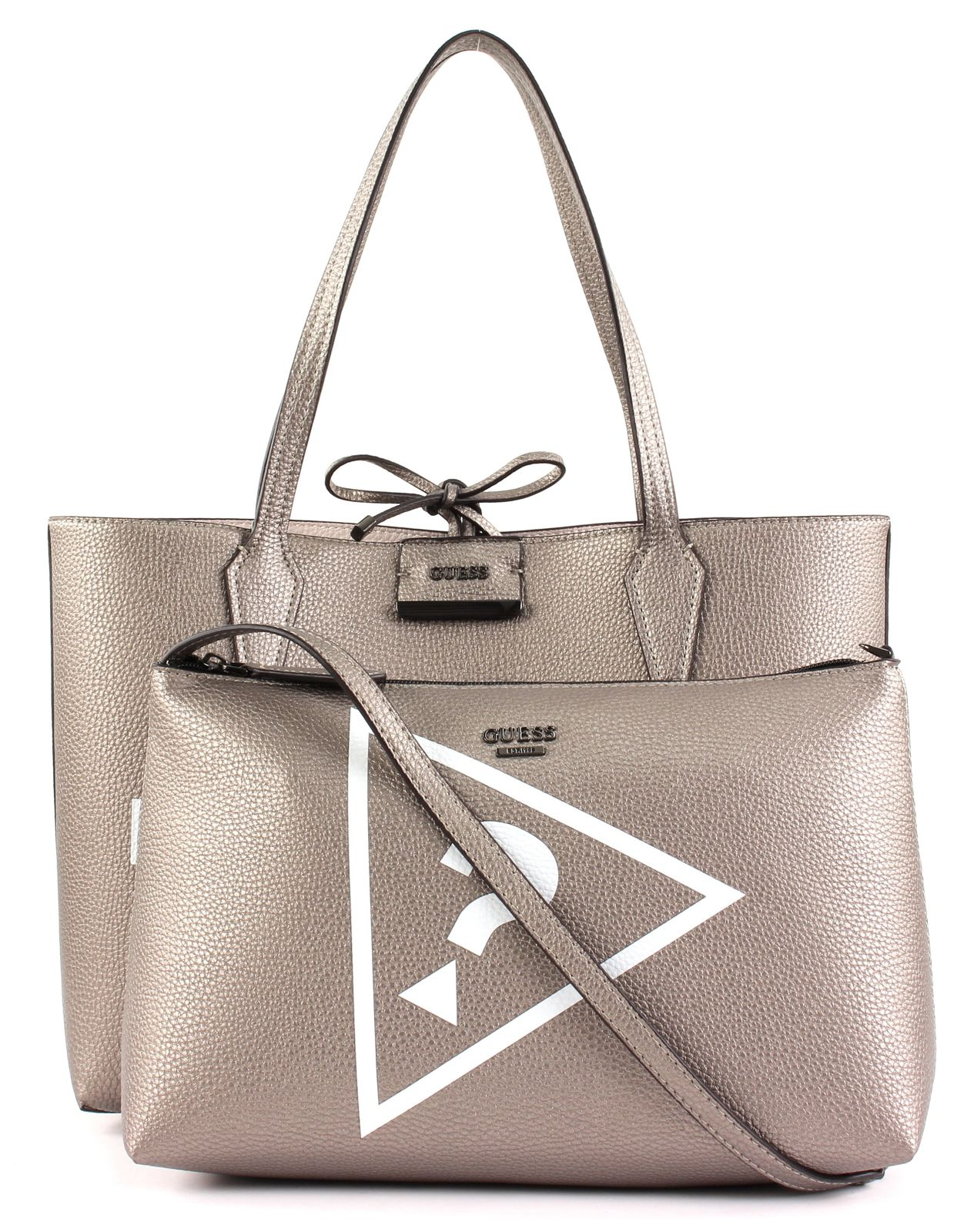 Details about GUESS Bobbi Inside Out Tote Shopper Shoulder Bag Pewter Stone Silver show original title