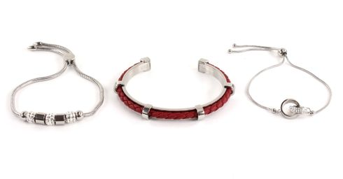 GUESS Red Leather Beads Rings Bracelet Set Silver
