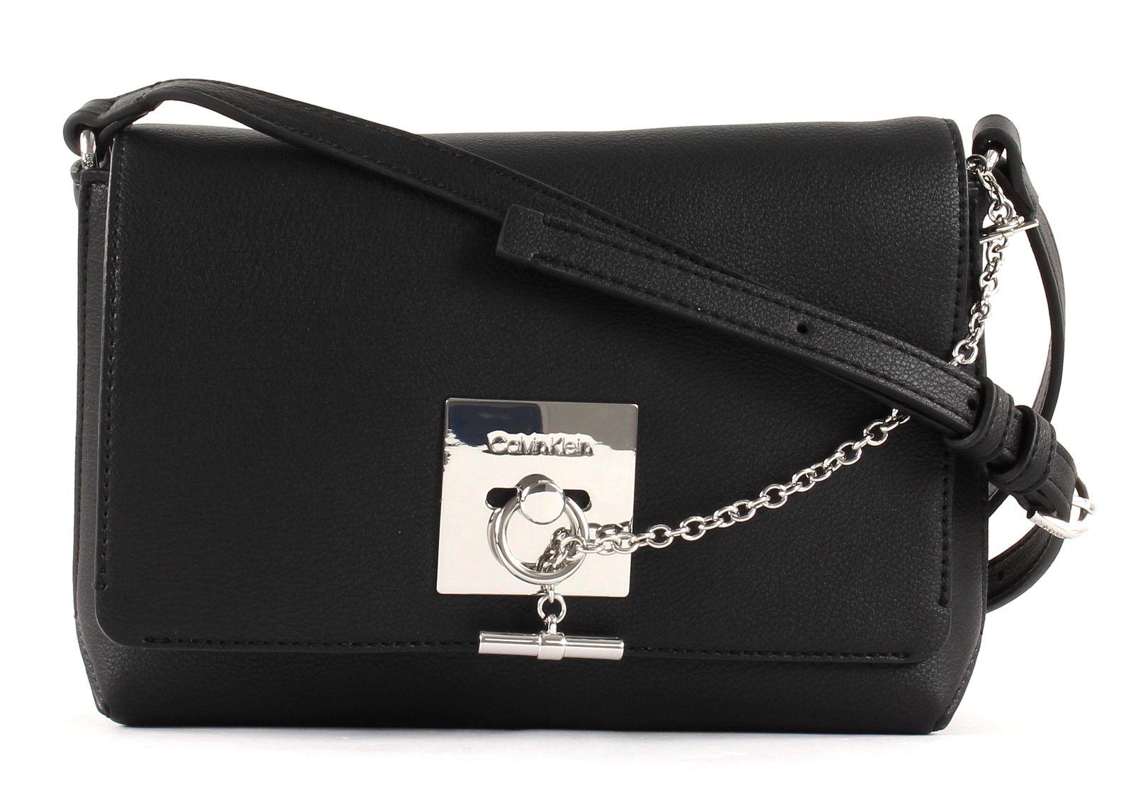2484adc61ee Calvin Klein Lock Medium Flap Crossbody Black