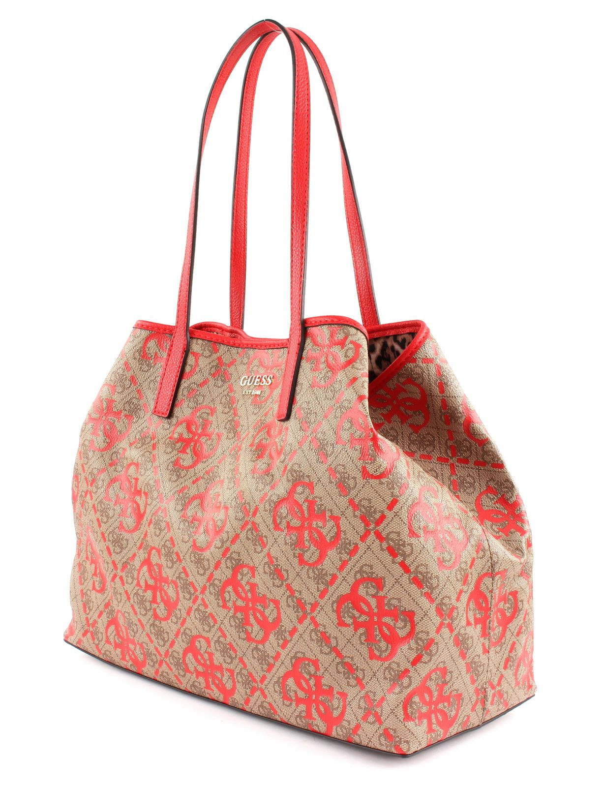 GUESS VIKKY Large Tote Front Print White Multi, Damentasche